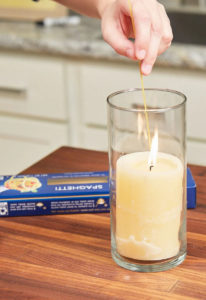How to light a candle with spaghetti